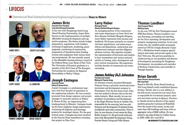 Larry Haber Named LIBN's Ones to Watch Commercial Real Estate